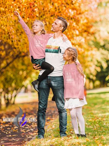 Girl Dad Legacy Long sleeve tee with Be a Good Human Kids tees