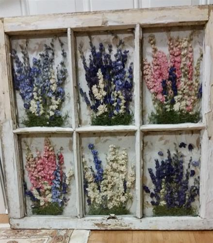 Hand Crafted Old Window Floral designs.
