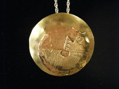 Textured Copper & Brass Shield Pendant with Stylized Fish on silver chain