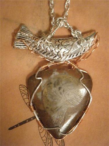 """Fossil and Fish"" Silver Wire Wrap"