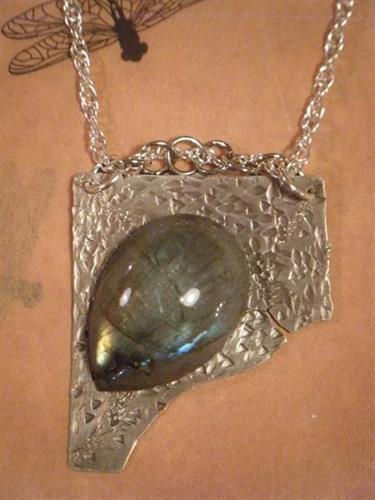 Labradorite and Hammered Silver Pendant on silver chain
