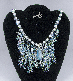 Mexican Opal with blue & white beads - classy!