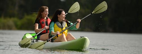 Relaxing on the water with a sit-on-top kayak. No experience needed.