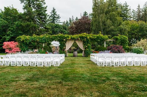 Ceremony facing the Wisteria trellis