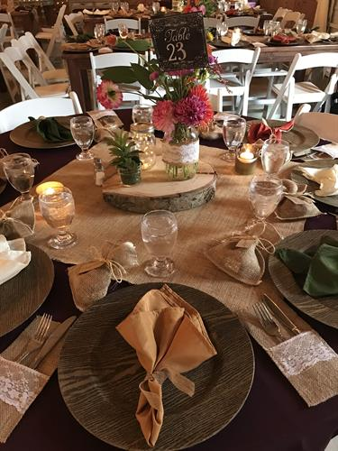 Example of place setting and table decor