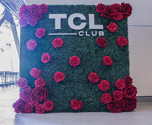 Our hedge wall with custom lettering and giant red roses