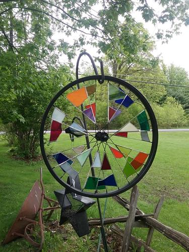 Stained Glass Bicycle Wheel by Vision Glass, Small & Large available
