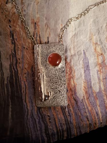 Carnelian- Sunset in the Desert silver pendant