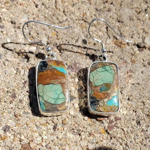 Mojave turquoise and silver earrings