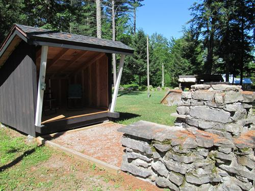 Rental Summer Cottage Lean-to & Fireplace