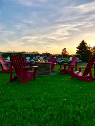 Relax around our fire pit while enjoying the scenic views of the golf course