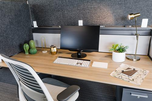 Privately situated dedicated desk