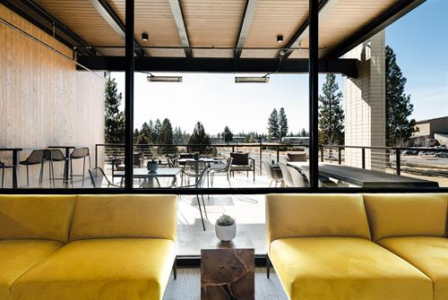 Heated outdoor terrace with mountain views