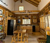 Cabin interior; open social floorplan. Cabin has river access (can't see river from house), but a cool place to hang out and watch the river flow.