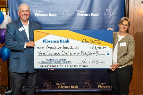 Riverside President receiving Community Grant from Florence Bank