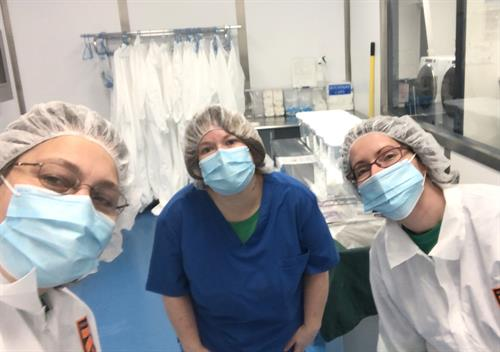 Our team at OfficePride Cleaning the CleanRoom