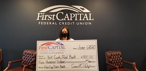 Although we were not able to hold the food drive for the York County Food Bank as part of our First Cap Gives Back program, First Capital did support them with a check for $500.