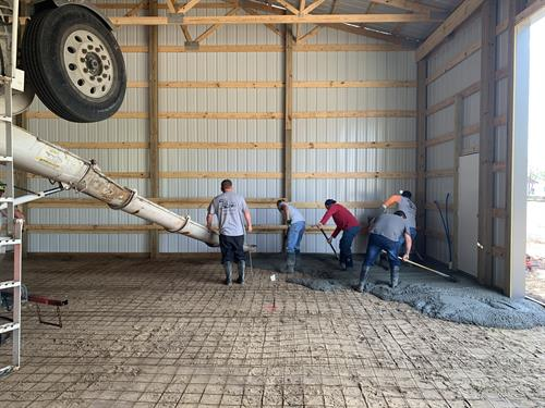 Pouring a new floor inside a shed