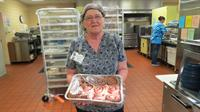 Famous cinnamon rolls for the labor day bake sale with dietary director Virginia Garrett