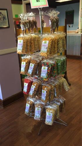 24 flavors of popcorn and 6 different gourmet nuts