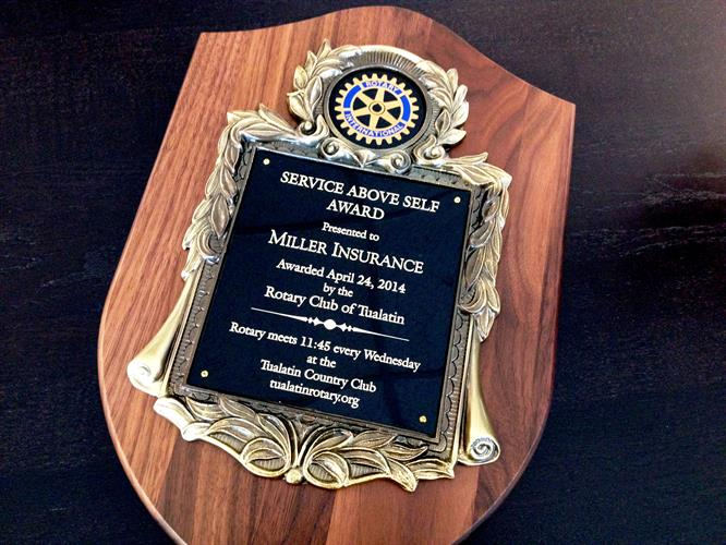 2014 Tualatin Rotary Service Above Self Award