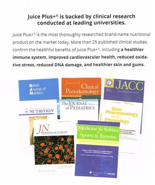 WE've got the Science to back it up!!  We're haveClinic Research published in now, 31 medical & scienific journals!   See for yourself!  http://jriley.juiceplus.com/content/JuicePlus/en/clinical-research/clinical-research.html.html#.VR9SguGSY20