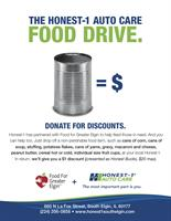 Honest-1 Auto Care Partnering with Food for Greater Elgin for a Holiday Food Drive