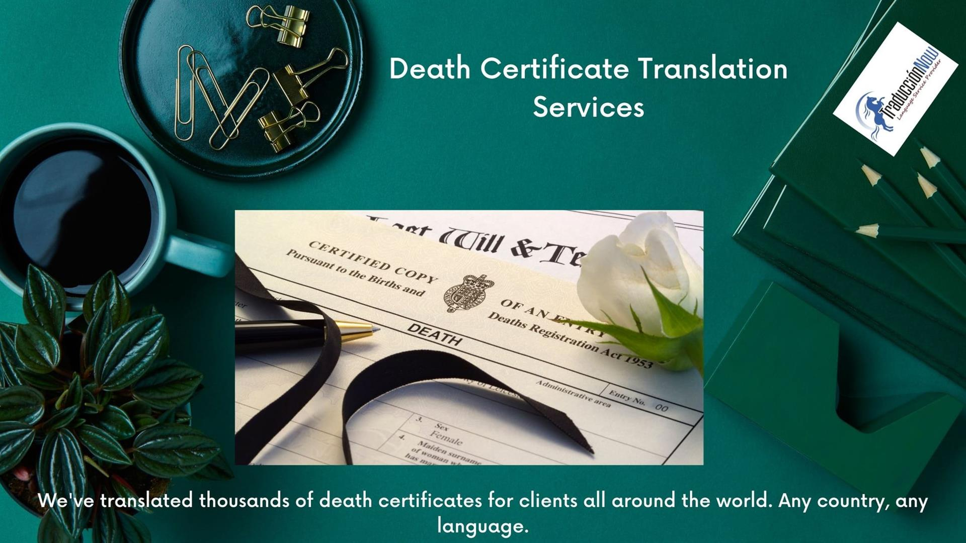Certified Death Certificate Translation Services