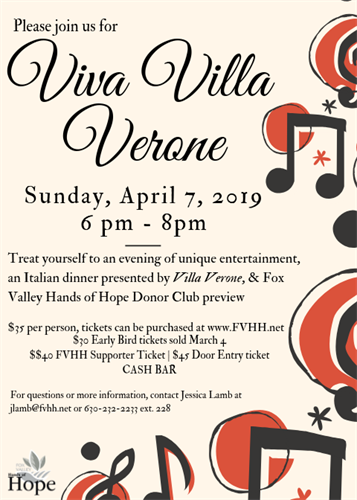 Viva Villa Verone Fundraiser for Fox Valley Hands of Hope - Apr 7, 2019