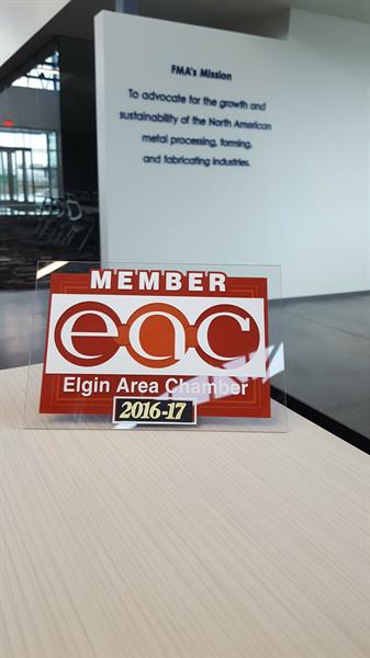 We proudly display this sign to inform our visitors that FMA is a member of the Elgin Chamber of Commerce.