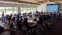 L.E.A.D leadership camp youth at ECC learning about college.