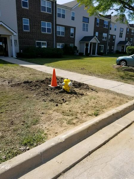One of two fire hydrant installations