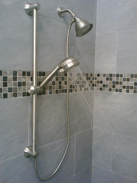 New shower trim with slide bar
