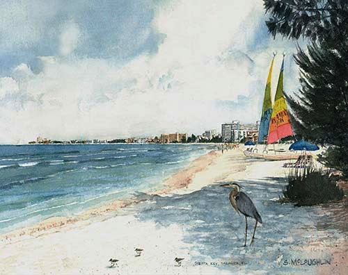 """Crescent Beach Blue Heron"", Watercolor"