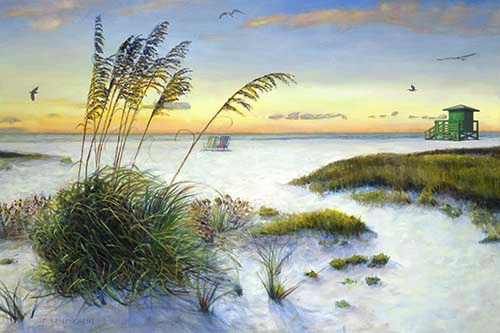 """Sea Oats at Sunset on Siesta Key Beach"", Oil Painting"