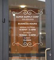 Business or Office Hours Decal on Glassy Window or Door