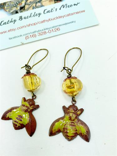 enameled copper bee earrings