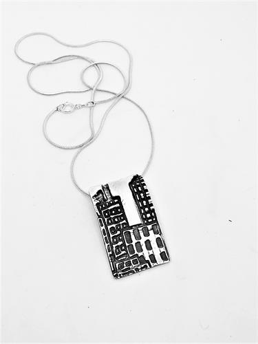 Fine Silver city scape necklace