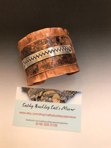 hand forged copper and silver cuff bracelet