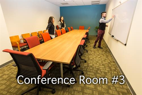 Have a larger group? Conference Room 3 seats 14 comfortably and up to 20 if you don't mind sharing your personal space!