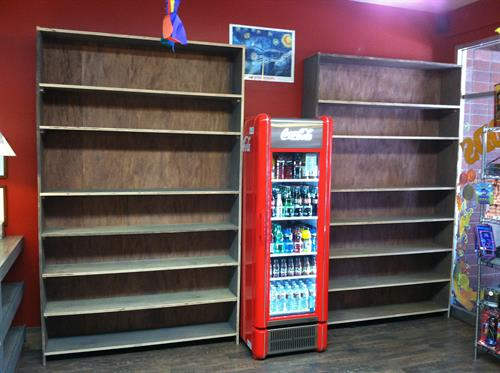 Custom shelving units for Golden Goods store