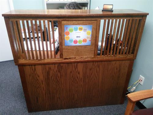 custom mission style reception desk for medical office