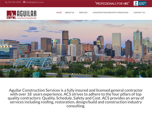 Website design for Aguilar Construction