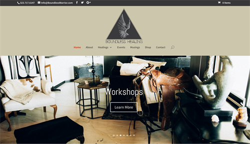 Website design for Boundless Warrior