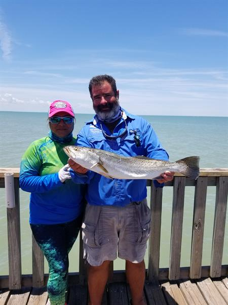 Capt Jaime and his wife witth a nice South Texas Speckled Trout