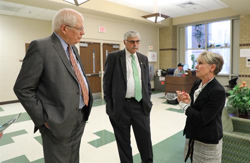 Congressman David Price visits the Orange County Campus. He is pictured here with Dr. Bill Ingram, President of Durham Tech, and Penny Gluck, Executive Dean of Orange County Operations at Durham Tech.