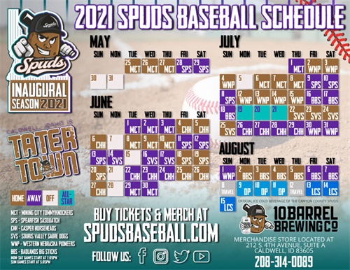 Spuds 2021 64 game schedule