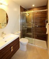Bathroom - New Shower, vanity, wall tile, flooring, glass door