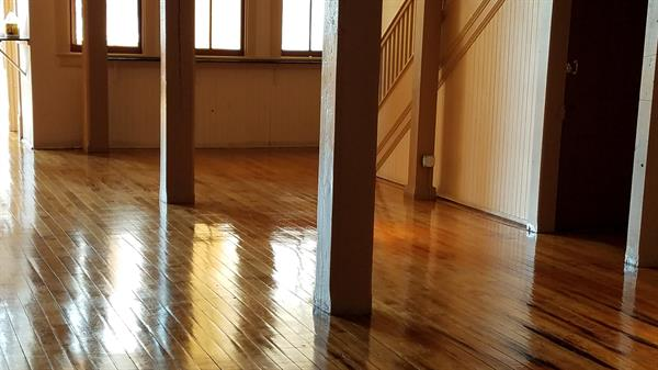 Applied a finish to this solid wood floor. This is used on wood floors that are in heavy traffic areas.