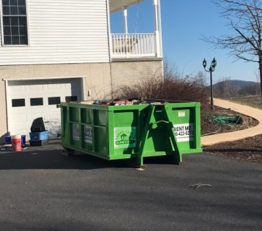 12 yard dumpster. Great size for medium jobs, and still low enough to reach over sides